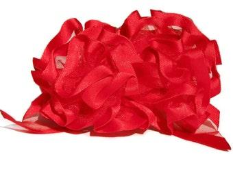 Vivid Red Ribbon Hair Bow Barrette, Valentine Hair Bow, Prom or Wedding Hair Bow, Holiday or everyday hair accessory, Fiesta Hair Barrette