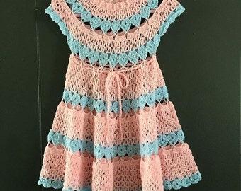 Gorgeous Girls Handmade Vintage Crochet Dress, Pink And Blue Dress, Party Dress