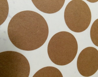 Circle Stickers Choose Size and Color - Kraft White Gold Foil or Silver Foil