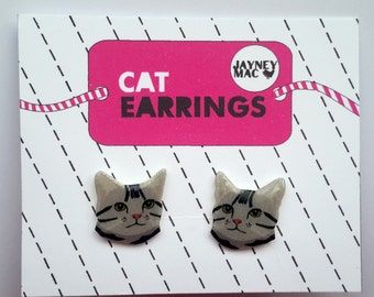 Grey Cat Earrings - Shrink Plastic Grey Tabby Cat Earrings