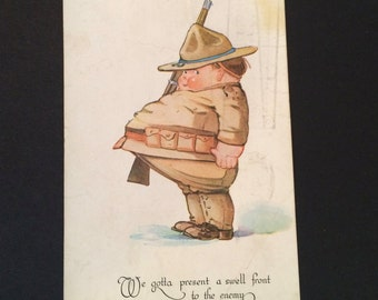 Cute Doughboy World War One Postcard / 1918 San Antonio, Texas / Ogden, Utah / 2cent US Postage Stamp