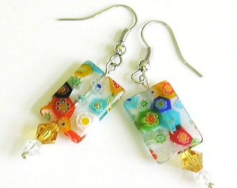 Multi-Color Floral Glass Earrings – Glass Beaded  Summer Boho Earrings - Unique Jewelry Birthday Gift