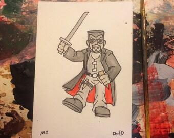 4x6 ooak watercolor original painting vampire hunter