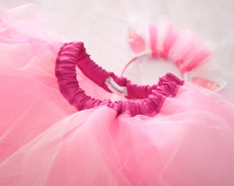 Pink tutu tulle skirt, includes a hairband. Princess pony unicorn costume idea. Dancing lessons tutu, photo prop outfit. Size 0-6 years.