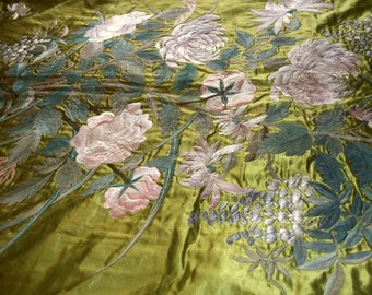 OOAK Antique 3-Dimensional Hand Embroidered Silk Textile Marriage Bedspread 1920s MASSIVE Panel