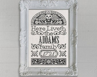 PDF NEW Customizable Tombstone Sampler Personalized Halloween cross stitch pattern by Dark Crosses at thecottageneedle.com Addams Family