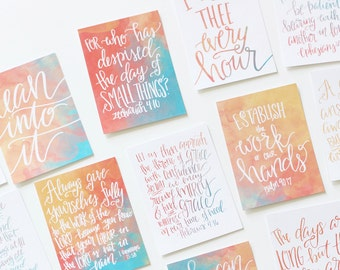 18 Momlife Mother's Day Mom Scripture Memory Verse 3x4 Watercolor Cards Handlettered DIGITAL Download Bible Notecard Modern Calligraphy