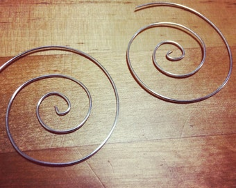 Handmade Silver Spiral Earrings