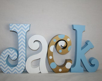 Wooden letters, Nursery letters, Wooden letters for nursery, 4 letter set, Blue and gold, Wood letters, Wooden letters for nursery