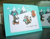 Penguin Christmas Cards Set of 2, Mountain Cards, Holiday Card Set, Woodland Friends Cards