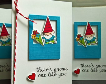 Gnome Valentine Cards Set of 2, Friendship Cards, I Love You Cards, Thank You Cards Set, Gnome Stationery, Anniversary Card
