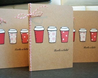 Holiday Thank You Cards Set of 3, Thanks a Latte Thank You Notes, Christmas Thank You, Coffee Cards,