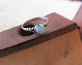 sterling silver and opal ring - heart, size 6
