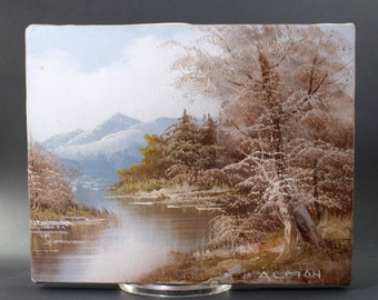 Vintage Mtn Scenery painting on canvas