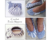 Purse Slippers - Crochet Pattern - Instant Download Pdf