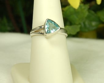 Blue Topaz Ring, Size 7, Trillion Cut, Sterling Silver, December Birthstone, Triangular Shape, Light Blue Gemstone, Adjustable Size