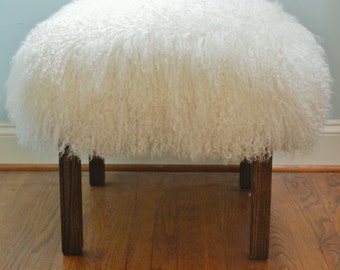 Real Mongolian Lamb Fur Bench with parsons style wood legs Stool  New Sheepskin Footstool lucite Ottoman foot  stool