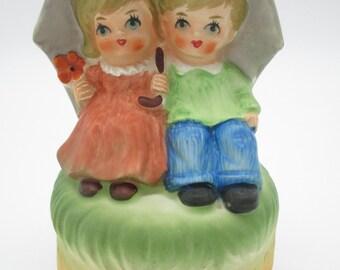 "Vintage Music Box- Music Figurine- Sankyo Japan Rotating Music Box ""Rain Drops Keep Falling on My Head""Made in Japan"