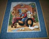 Denim Teddy Bear on a Tractor Crib Quilt