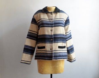 Vintage Woolrich Blue & White Striped Wool Coat