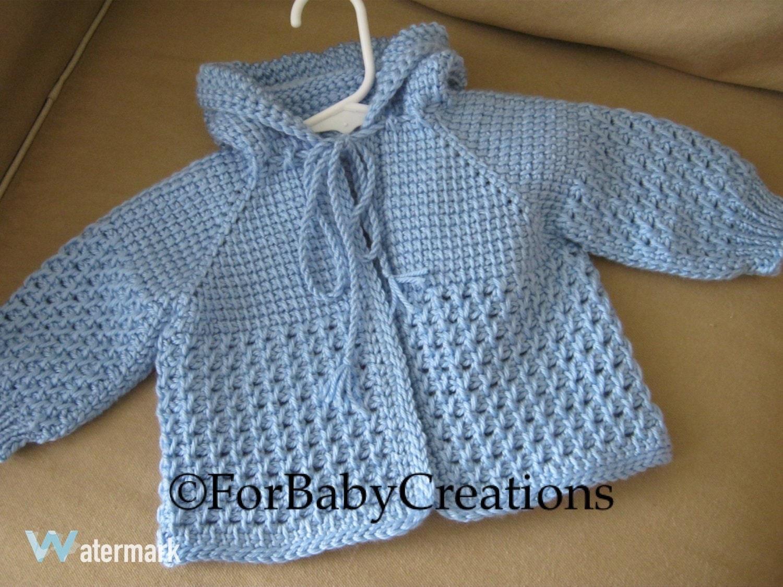 Light blue crochet baby sweater with hood for boy tunisian zoom bankloansurffo Gallery