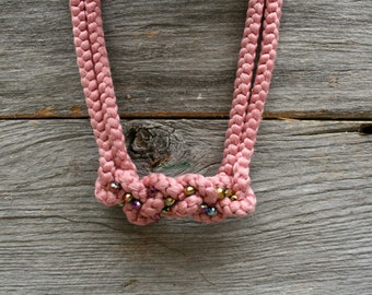 Dusty pink knot necklace