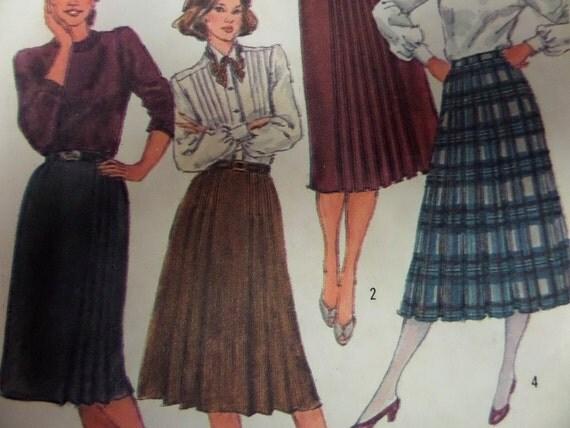 1983 pleated skirt pattern simplicity 6082 miss 16 waist