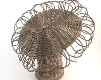 Antique Victorian Wicker Flower Wedding Decor Basket Original Green Striped Design