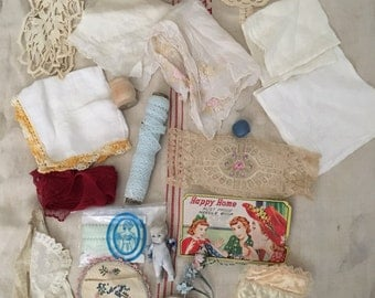 Vintage Collection of Lace, Hankies, ect.
