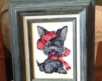 Vintage Needle Worked Cross Stitched Dog Art
