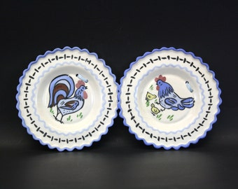 Vintage Ruffled Edge Ceramic Rooster Wall Hangings, Set of 2 (E4052)