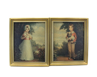 Vintage Pair of Framed Boy & Girl Pictures w/Kitten and Puppy (E2222)