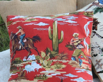 Cactus and Cowboys / rustic, western pillow case for 18 x 18 pillow form / horses / decorative pillow / western home decor country Giddy Up