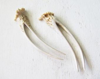 Deer Horn Antler Hair Fork -Single or Pair- Woodland Bone Tribal Hair Jewelry Natural Stick Pick