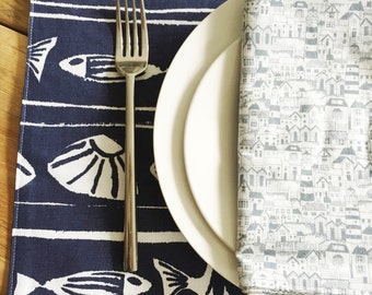 Beach Placemats - Choose a Set of 4 or 6 - Shells and Fish