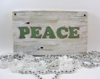 PEACE wood Christmas sign holidays wall hanging upcycled