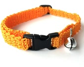 Adjustable Cat Collar Orange with Bell