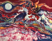 Horses -  Summer North Wind - print from original batik - Spirit horses