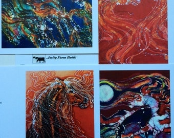 Horse Batik cards set  Flowing Horses edition   -  Horse  -   Set of four blank cards
