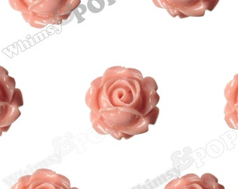 Vintage Deco Coral Rose Bud Resin Cabochons, Flower Cabochons, Flower Cabs, Rose Cabochons, Flatbacks, Glue On Flowers, 15mm (R1-093)