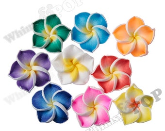 MIXED Color Plumeria Flower Beads, Fimo Clay Plumeria Beads, Drilled Flowers, 15mm Flower Beads, Hawaiian Flower Beads, 1mm Hole (R9-045)