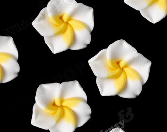 White Plumeria Flower Beads, Fimo Clay Plumeria Beads, Drilled Flowers, 15mm Flower Beads, Hawaiian Flower Beads, 1mm Hole (R9-038)