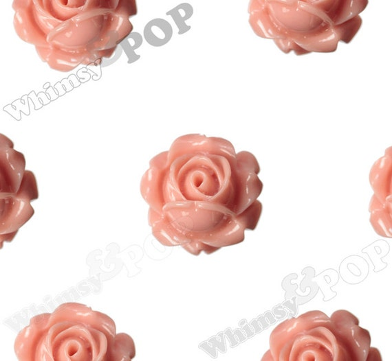 Vintage Deco Coral Rose Bud Resin Cabochons, Flower Cabochons, Rose Cabochons, 15mm x 8mm (R1-093)