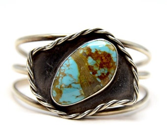 Vintage Native American Sterling Cuff with HUGE Nevada Turquoise Cabachon