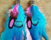 Beautiful Pink and Blue Feather Earrings