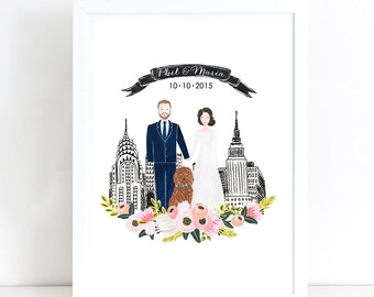 Wedding Guest Book Sign, Custom Couple Portrait Illustration, Couple Wedding Illustration, Hand painted watercolor, Wedding Anniversary Gift