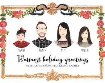 Custom Illustrated Christmas Card - Family Portrait Holiday Card - Custom Family Portrait Card, Personalized Family Drawing, Christmas Gift