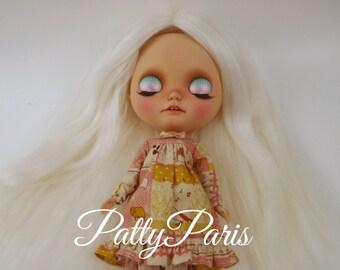 Ready to ship/Doll hair/Suri Alpaca hair/Blythe doll hair/Platinum blonde/re-root scalp for Blythe doll 15 inches