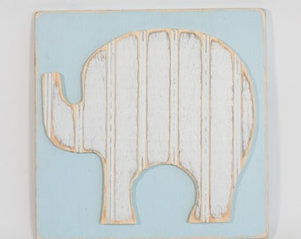 Elephant for Nursery or Childrens Room, Distressed Antique Bead Board