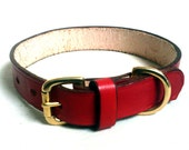 "Leather dog collar, 1"" wide, solid brass buckle, full grain leather, brown dog collar, red dog collar, av. in 15 colors"